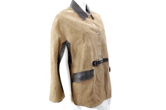 Vintage Suede Leather Brown Cape Coat// Suede Cape