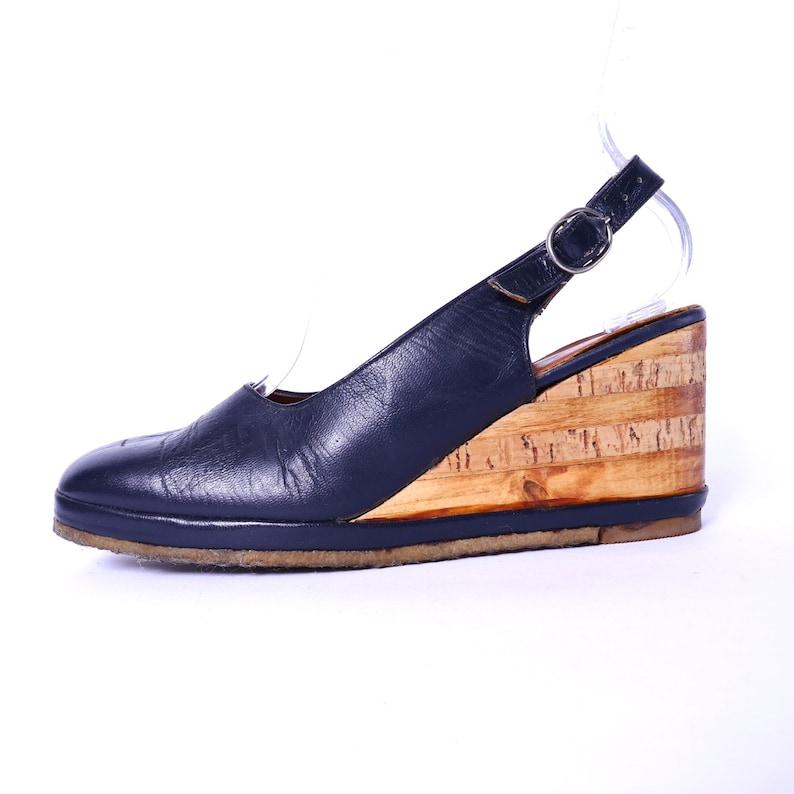 d4a85181bc1 60s Wood Cork Wedge Slingback Shoes    Vintage Platform Navy