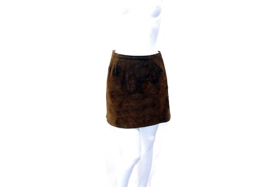 Vintage 60s Suede Mini Skirt Rust Brown Cowgirl Sk
