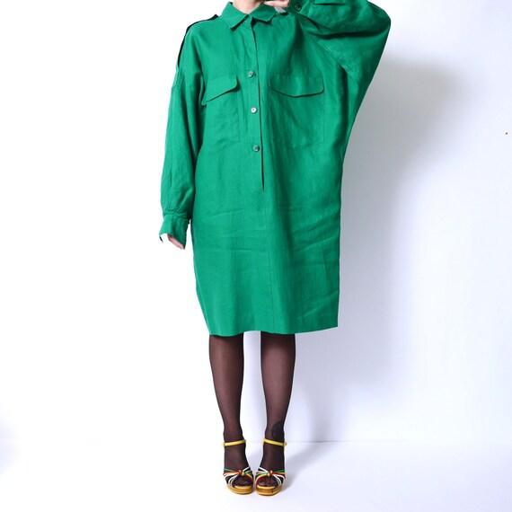 016879902d5 80s Oversized Linen Shirt Dress Boxy Extra Long Sleeves Dress