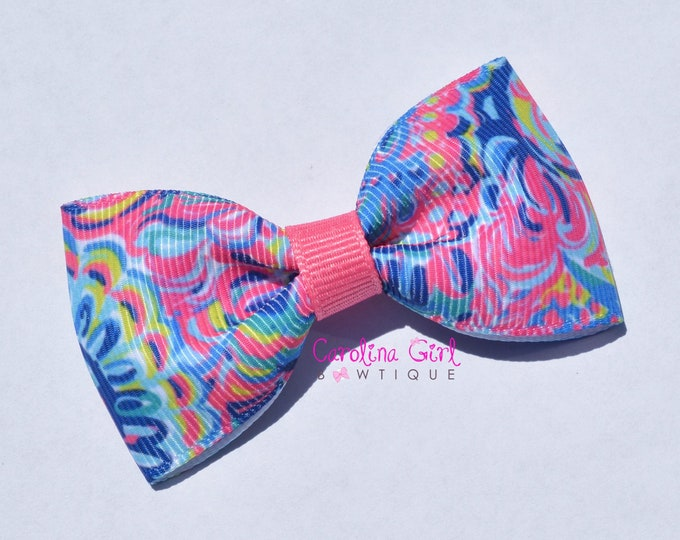 """Psychadelic Sunshine ~ 3"""" Hair Bow Tuxedo Bow ~ Lilly Inspired ~ Simple Bow ~ Boutique Bow for Babies Toddlers ~ Girls Hair Bows"""
