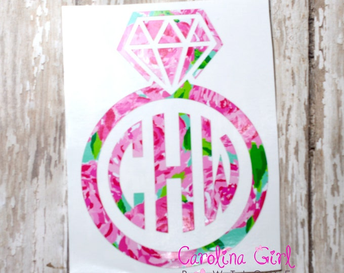 Lilly Pulitzer Inspired Diamond Ring Monogram Decal ~ Yeti Decal ~ Lilly Car Decal ~ Lilly Decal ~ Lilly Sticker