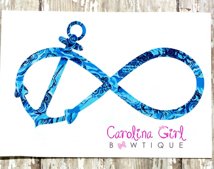 Lilly Pulitzer Inspired Infinity Anchor Decal ~ Yeti Decal ~ Lilly Car Decal ~ Lilly Decal ~ Lilly Sticker
