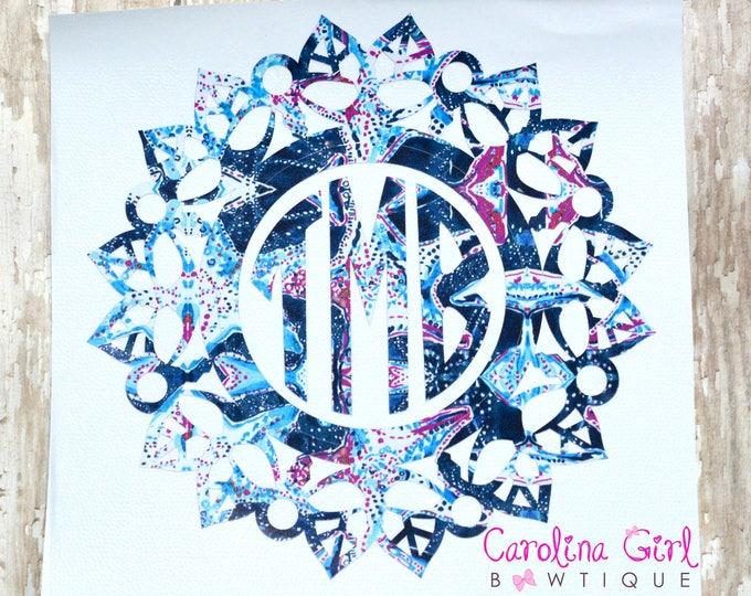 Lilly Pulitzer Inspired Monogram Mandala Decal ~ Yeti Decal ~ Lilly Car Decal ~ Lilly Decal ~ Lilly Sticker