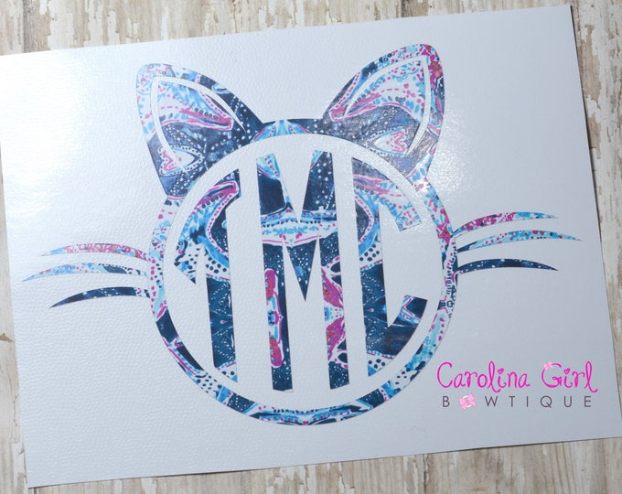 Lilly Pulitzer Inspired Cat Monogram Decal ~ Yeti Decal ~ Lilly Car Decal ~ Lilly Decal ~ Lilly Sticker