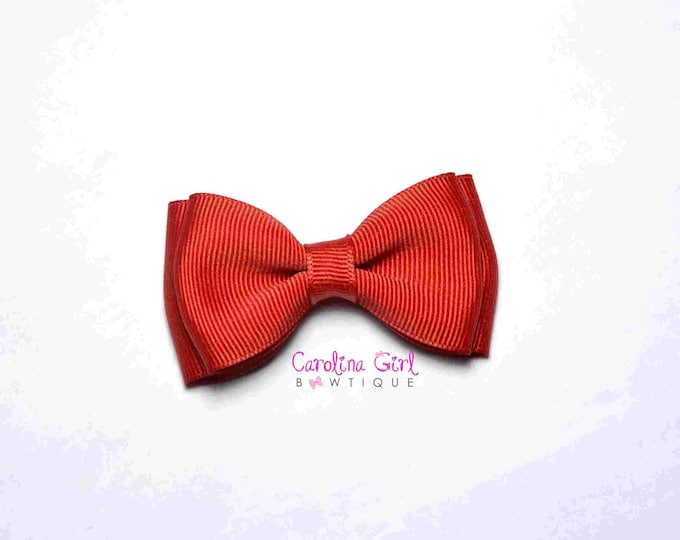 "Red Stacked Hair Bow ~ 3.5"" Hairbow ~ Small Hair Bow ~ Girls Barrette ~ Toddler Bow ~ Baby Hair Bow ~ Hair Clip ~ Girls Hair Bow"