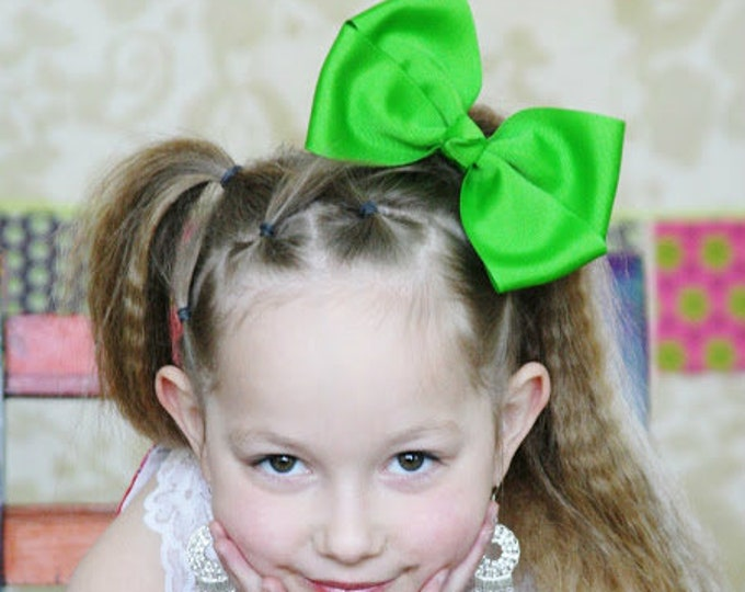 6 in. Apple Green Hair Bow - XL Hair Bow - Big Hair Bows - Girl Hair Bows