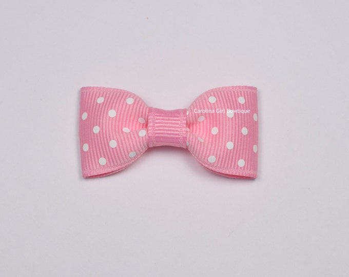 Pink Dots Baby Hair Bow ~ 2 in. Bow with No Slip Grip ~ Small Hair Bows Newborns Toddler Girls