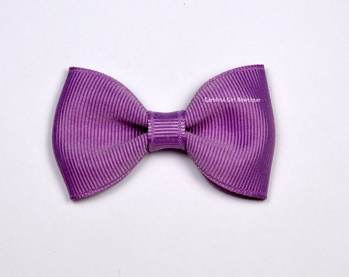 "Chalk Violet 2.5"" Hair Bow Tuxedo Bow ~ Simple Bow ~ Boutique Bow for Babies Toddlers Girls Hair Bows"