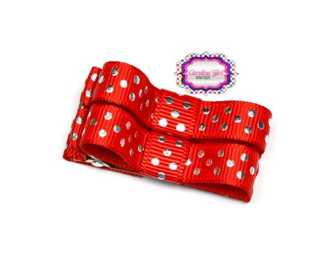Red with Silver Dots Hair Clips Basic Tuxedo Clips Alligator Non Slip Barrettes for Babies Toddler Girl Set of 2