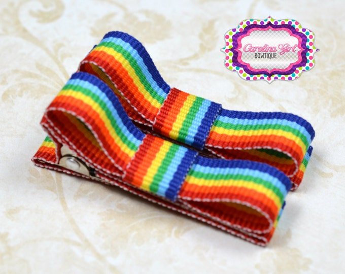 Rainbow Striped Hair Clips Basic Tuxedo Clips Alligator Non Slip Barrettes for Babies Toddler Girl Set of 2