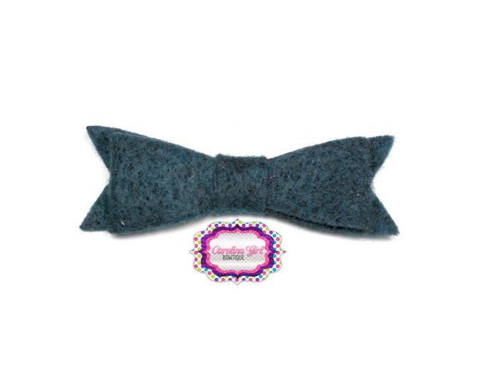 """Navy Blue Felt Tuxedo Bow  ~2"""" Hairbow ~Small Bow ~Girls Barrette ~Toddler Bow ~ Baby Hair Bow ~ Hair Clip ~ Girls Hair Bow"""