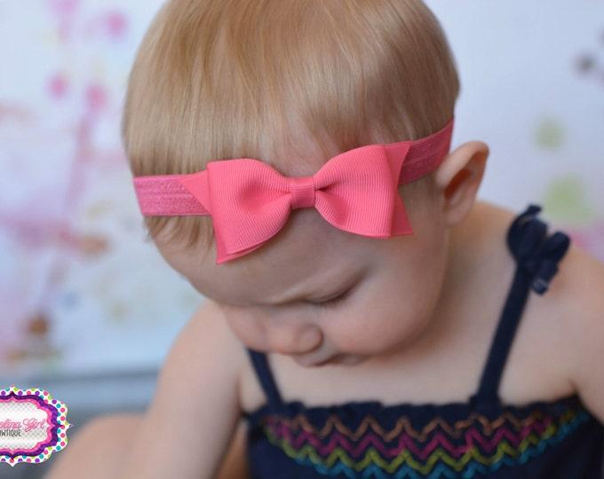 """Coral Tuxedo Bow Headband  ~ 3.5"""" Hairbow ~ Small Hair Bow ~ Girls Headband ~ Toddler Bow ~ Baby Hair Bow ~ Hair Clip ~ Girls Hair Bow"""