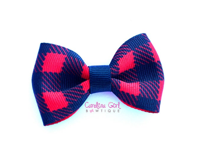 "Buffalo Plaid 2.5"" Hair Bow Tuxedo Bow Simple Bow Boutique Bow for Babies Toddlers Girls Hair Bows"