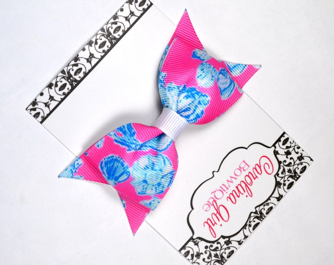 """Barefoot Princess ~ 3.5"""" Hairbow ~ Lilly Inspired ~ Small Hair Bow ~ Girls Barrette ~ Toddler Bow ~ Hair Clip ~ Girls Hair Bow"""