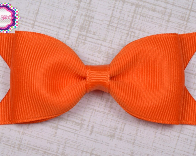 "Orange Tuxedo Bow  ~ 3.5"" Hairbow ~ Small Hair Bow ~ Girls Barrette ~ Toddler Bow ~ Baby Hair Bow ~ Hair Clip ~ Girls Hair Bow"