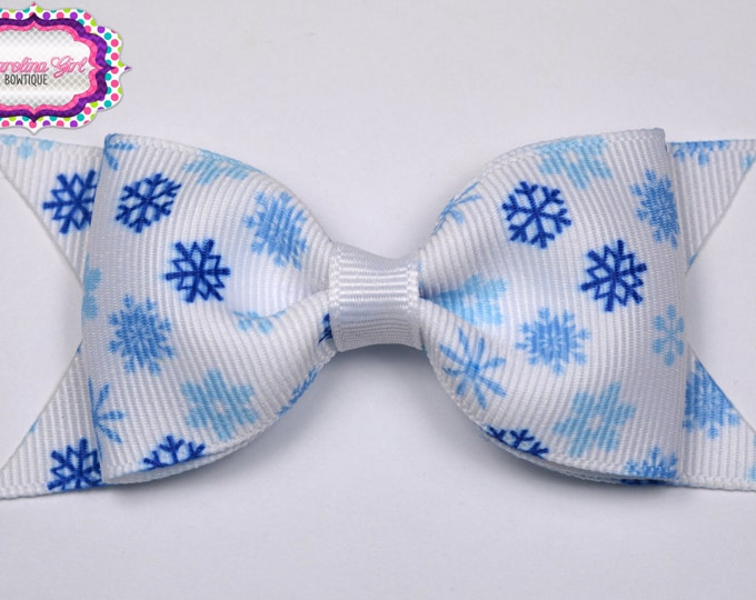 "Blue Snowfakes Tuxedo Bow  ~ 3.5"" Hairbow ~ Small Hair Bow ~ Girls Barrette ~ Toddler Bow ~ Baby Hair Bow ~ Hair Clip ~ Girls Hair Bow"