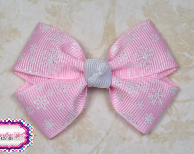Pink Snowflakes Hair Bow ~ Girls Hair Bows ~ Toddler Hair Bows ~ Small Hair Bows ~ Small Hair Barrette ~ Hair Bows for Girls