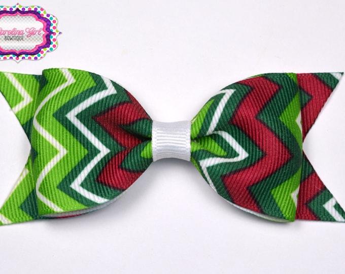 "Christmas Green Chevron Tuxedo Bow ~ 3.5"" Hairbow~ Small Hair Bow~ Girls Barrette ~ Toddler Bow ~ Baby Hair Bow ~ Hair Clip ~ Girls Hair Bow"