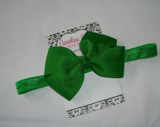 Emerald Green Bow Band - Green Bow on an Elastic Headband Baby Infant Toddler - Girls Hair Bows