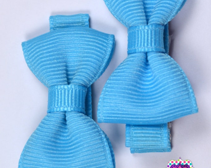 Mystic Blue Hair Bow Set of 2 Small Hairbows - Girls Hair Bows - Clippies - Baby Hair Bows