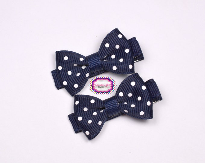 Mini Hair Bows ~ Navy Dots Hair Bow Set of 2 Small Hairbows - Girls Bows - Clippies - Baby Hair Bows ~ No Slip Grip always added