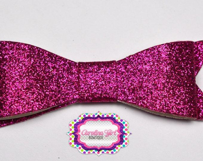"Dark Pink Glitter Felt Tuxedo Bow  ~ 3"" Hairbow ~ Small Hair Bow ~ Girls Barrette ~ Toddler Bow ~ Baby Hair Bow ~ Hair Clip ~ Girls Hair Bow"