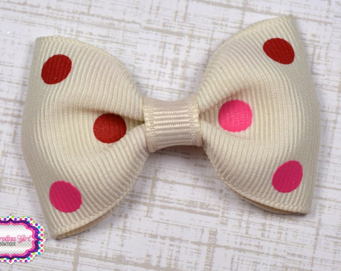 "Ivory with Pink Dots Tuxedo Bow ~ 2.5"" Hairbow ~ Small Hair Bow ~ Girls Barrette ~ Toddler Bow ~ Baby Hair Bow ~ Hair Clip ~ Girls Hair Bow"