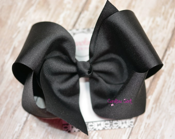 Large Black Boutique Hair Bow  ~ 5 Inches ~ Large Hair Bow ~ Big Hair Bows ~ Girl Hair Bows