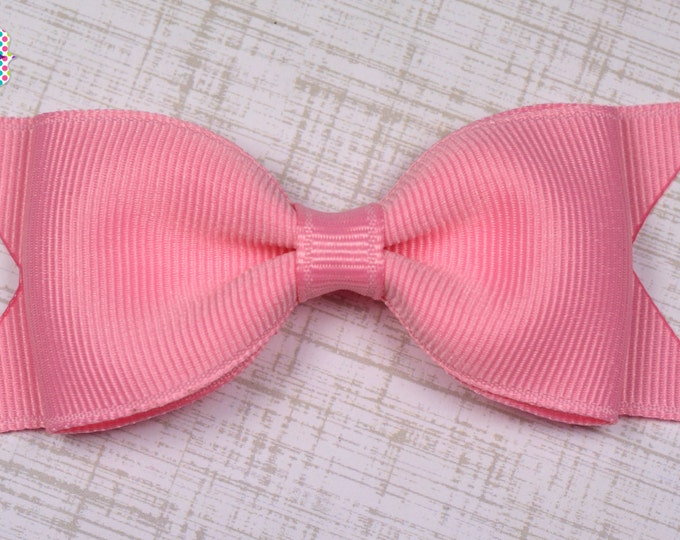 "Pink Tuxedo Bow  ~ 3.5"" Hairbow ~ Small Hair Bow ~ Girls Barrette ~ Toddler Bow ~ Baby Hair Bow ~ Hair Clip ~ Girls Hair Bow"