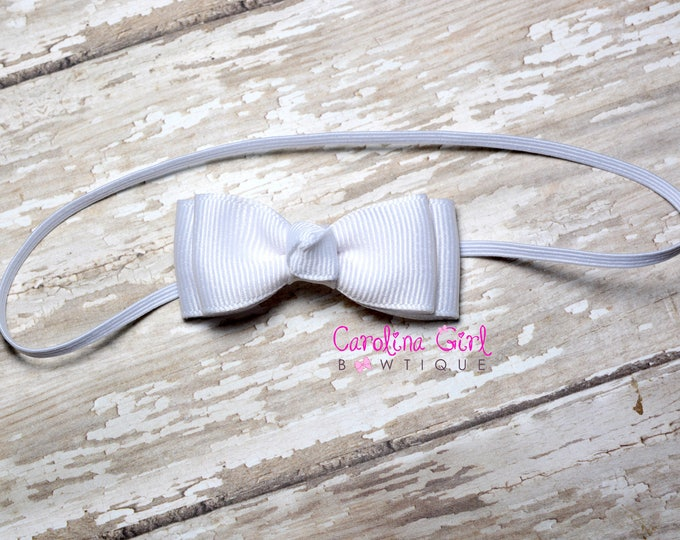 White Stacked Tiny Bow ~ White Newborn Headband - Smallest Bow Headband - Girls Hair Bows