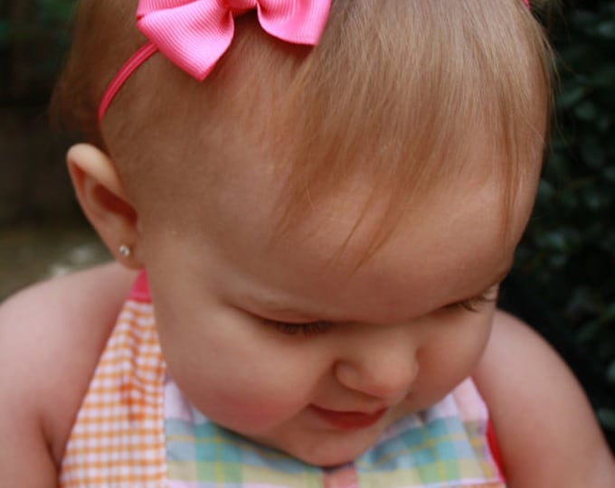 hot Pink  Newborn Headband - 2 in. Bitty Bow on an Elastic Headband - Girls Hair Bows - Baby Headband