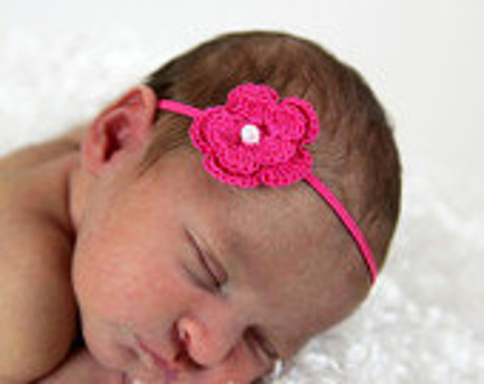 Dark Pink Crochet Flower Headband Infant Headband - Girls Hair Band - Headband