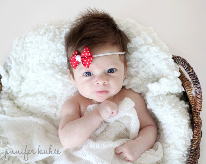 Red Dots Newborn Headband - 2 in. Bitty Bow on an Elastic Headband - Girls Hair Bows - Baby Headband