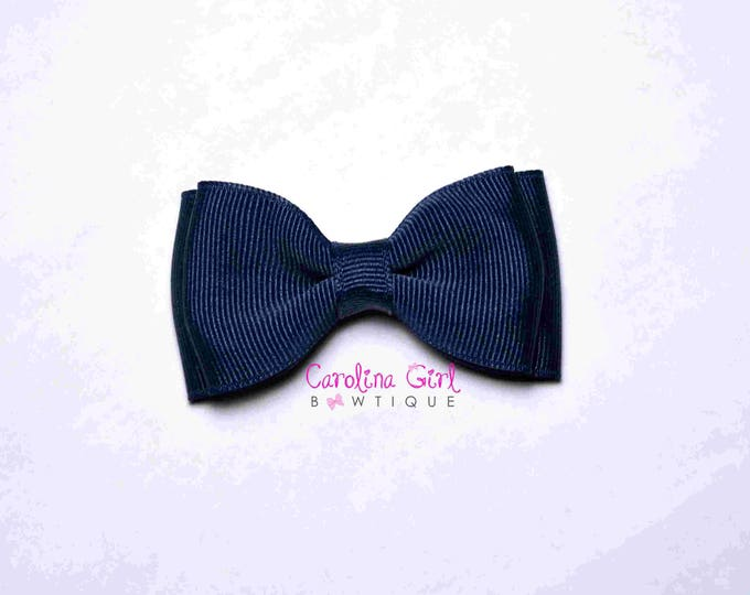 "Navy Stacked Hair Bow ~ 3.5"" Hairbow ~ Small Hair Bow ~ Girls Barrette ~ Toddler Bow ~ Baby Hair Bow ~ Hair Clip ~ Girls Hair Bow"