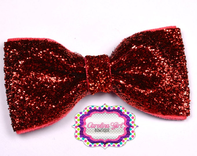 "Red Glitter ~ 3"" Hair Bow Tuxedo Bow ~ Simple Bow ~ Boutique Bow for Babies Toddlers ~ Girls Hair Bows"