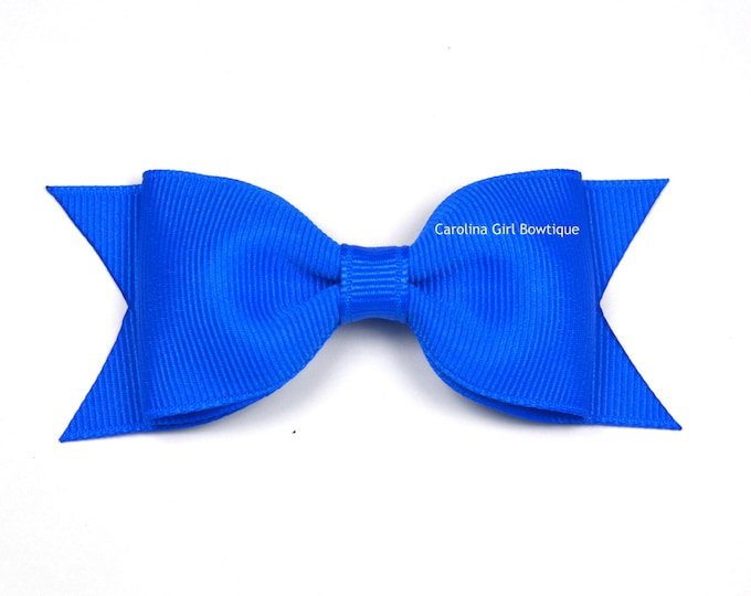 "Electric Blue Tuxedo Bow  ~ 3.5"" Hairbow ~ Small Hair Bow ~ Girls Barrette ~ Toddler Bow ~ Baby Hair Bow ~ Hair Clip ~ Girls Hair Bow"