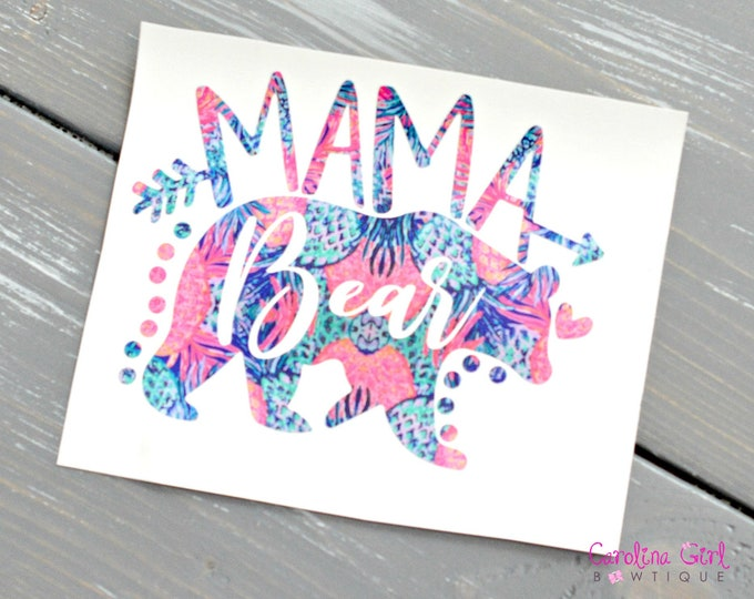 Lilly Pulitzer Mama Bear Decal ~ Yeti Decal ~ Lilly Car Decal ~ Lilly Decal ~ Lilly Sticker