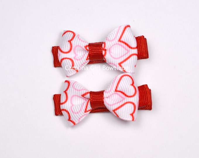 Heart Hair Bow Set of 2 Small Hairbows - Girls Hair Bows - Clippies - Baby Hair Bows ~ No Slip Grip always added ~ Valentines Day