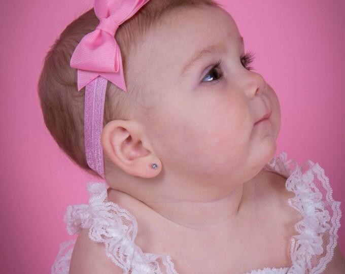 "Pink Tuxedo Bow Headband  ~ 3.5"" Hairbow ~ Small Hair Bow ~ Girls Headband ~ Toddler Bow ~ Baby Hair Bow ~ Hair Clip ~ Girls Hair Bow"