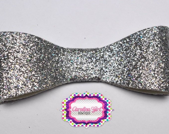 "Silver Glitter Felt Tuxedo Bow  ~ 3"" Hairbow ~ Small Hair Bow ~ Girls Barrette ~ Toddler Bow ~ Baby Hair Bow ~ Hair Clip ~ Girls Hair Bow"