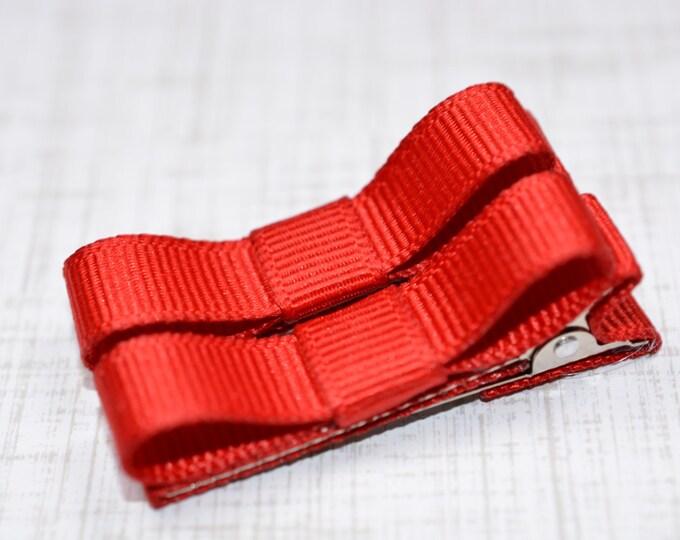 Red Hair Clips Basic Tuxedo Clips Alligator Non Slip Barrettes for Babies Toddler Girl Set of 2