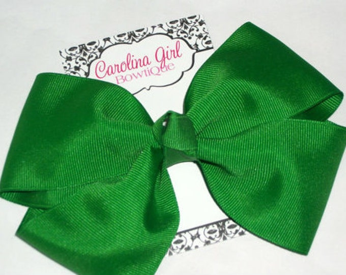 6 in. Emerald Green Hair Bow - XL Hair Bow - Big Hair Bows - Girl Hair Bows