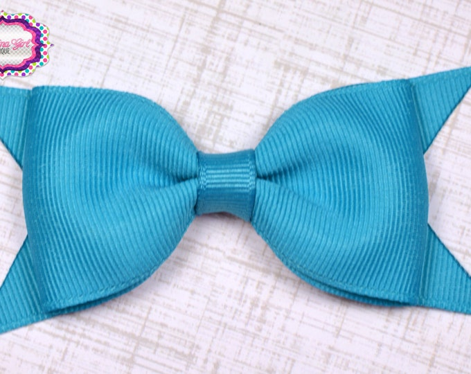 "Turquoise Tuxedo Bow  ~ 3.5"" Hairbow ~ Small Hair Bow ~ Girls Barrette ~ Toddler Bow ~ Baby Hair Bow ~ Hair Clip ~ Girls Hair Bow"