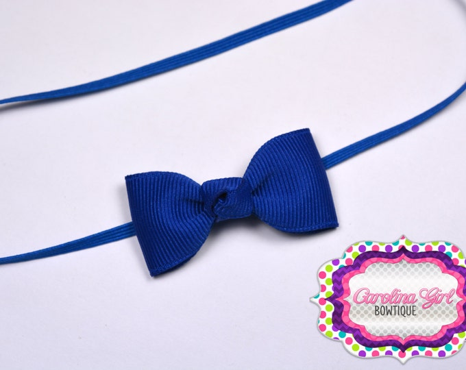 Royal Blue Newborn Headband - Small Headband withTiny Bow on Skinny Elastic - Girls Hair Bows