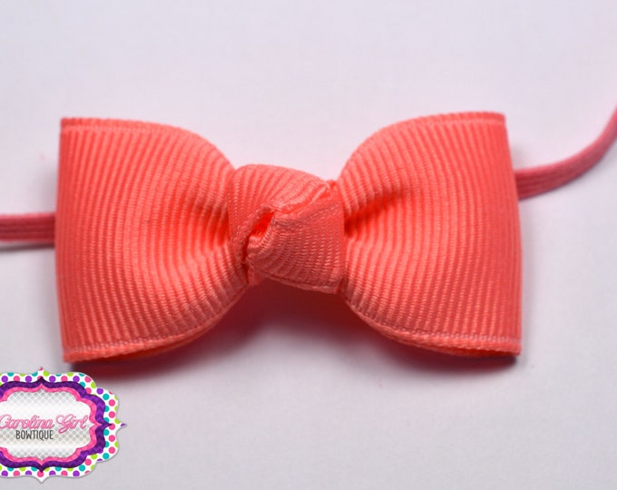 Coral  Newborn Headband - Small Headband Coral Tiny Bow on Skinny Elastic - Girls Hair Bows