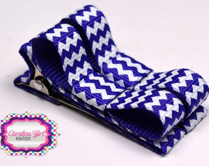 Purple  Chevron Hair Clips Basic Tuxedo Clips Alligator Non Slip Barrettes for Babies Toddler Girl Set of 2