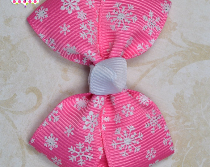 Hot Pink Snowflakes Hair Bow ~ Girls Hair Bows ~ Toddler Hair Bows ~ Small Hair Bows ~ Small Hair Barrette ~ Hair Bows for Girls