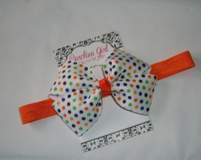 Halloween Dots Bow Headband - Halloween Bow on an Elastic Headband - Girls Hair Bows