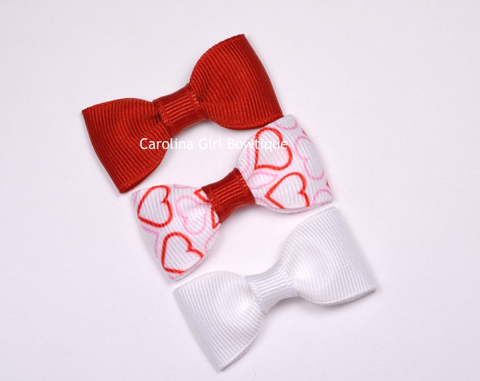 Baby Hair Bows ~ Valentines Set ~ 2 in. Bows with No Slip Grip ~ Small Hair Bows Newborns Toddler Girls